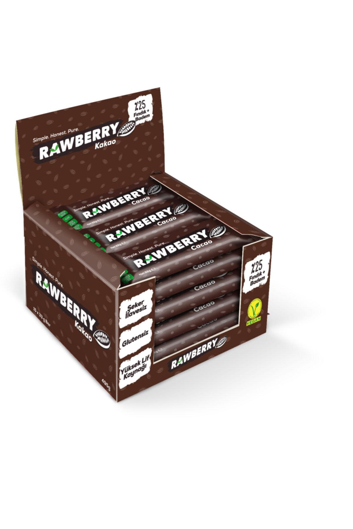 Rawberry Cacao Şeker Ilavesiz Vegan Glutensiz Kuruyemiş Bar (kutuda 15 Adet) 1