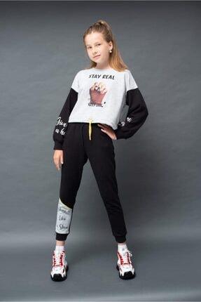 karia kids Kız Çocuk Beyaz Göbek Açık Eşofman Takım