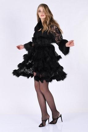 Nelly Kadın Siyah Dantel Kumaş Eteği Volanlı Ceket