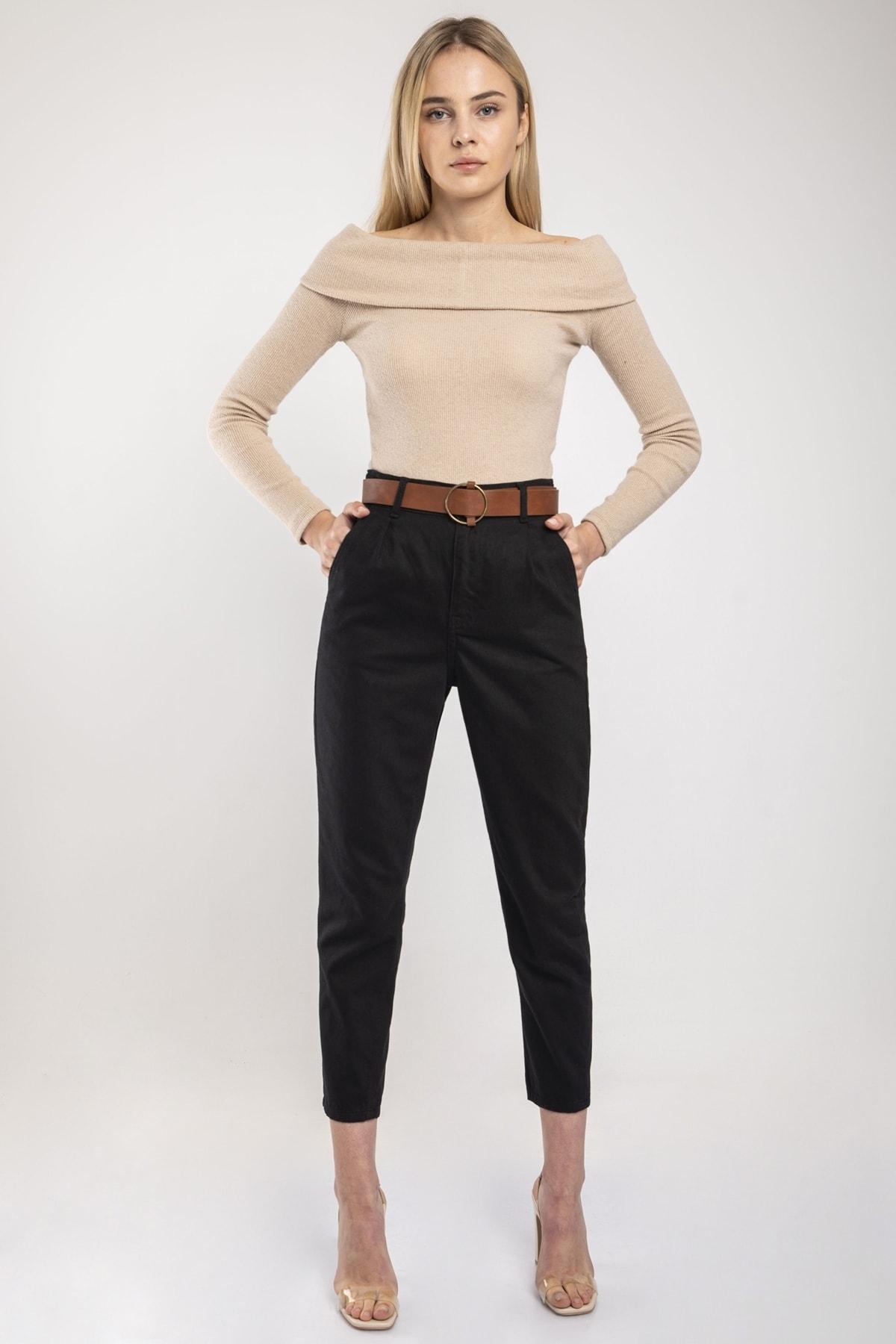 MD trend Kadın Siyah Bel Lastikli Kemerli Gabardin Pantolon 1