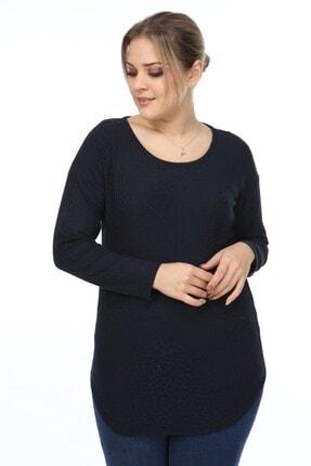 Womenice Kadın Lacivert Jakar Desenli Büyük Beden Bluz