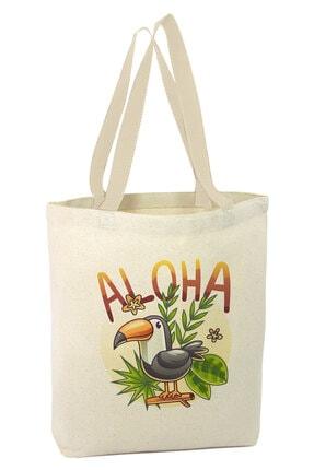 Angemiel Eğlenceli Papağan Aloha Alışveriş Plaj Bez Çanta