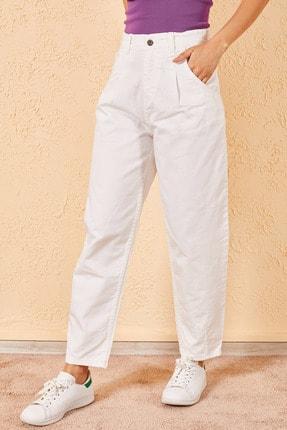 Zafoni Kadın Beyaz Paçası Dikişli Balon Pantolon