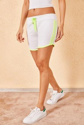 Zafoni Kadın Neon Çift Şeritli Beyaz Şort