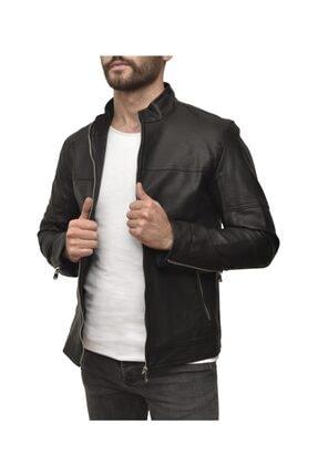 Trendsensin Erkek Siyah Deri Düz Model Ceket