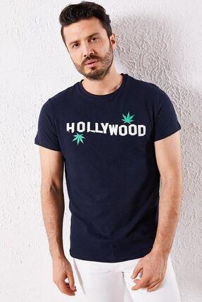 Zafoni Erkek Lacivert Hollyweed Baskılı Tişört