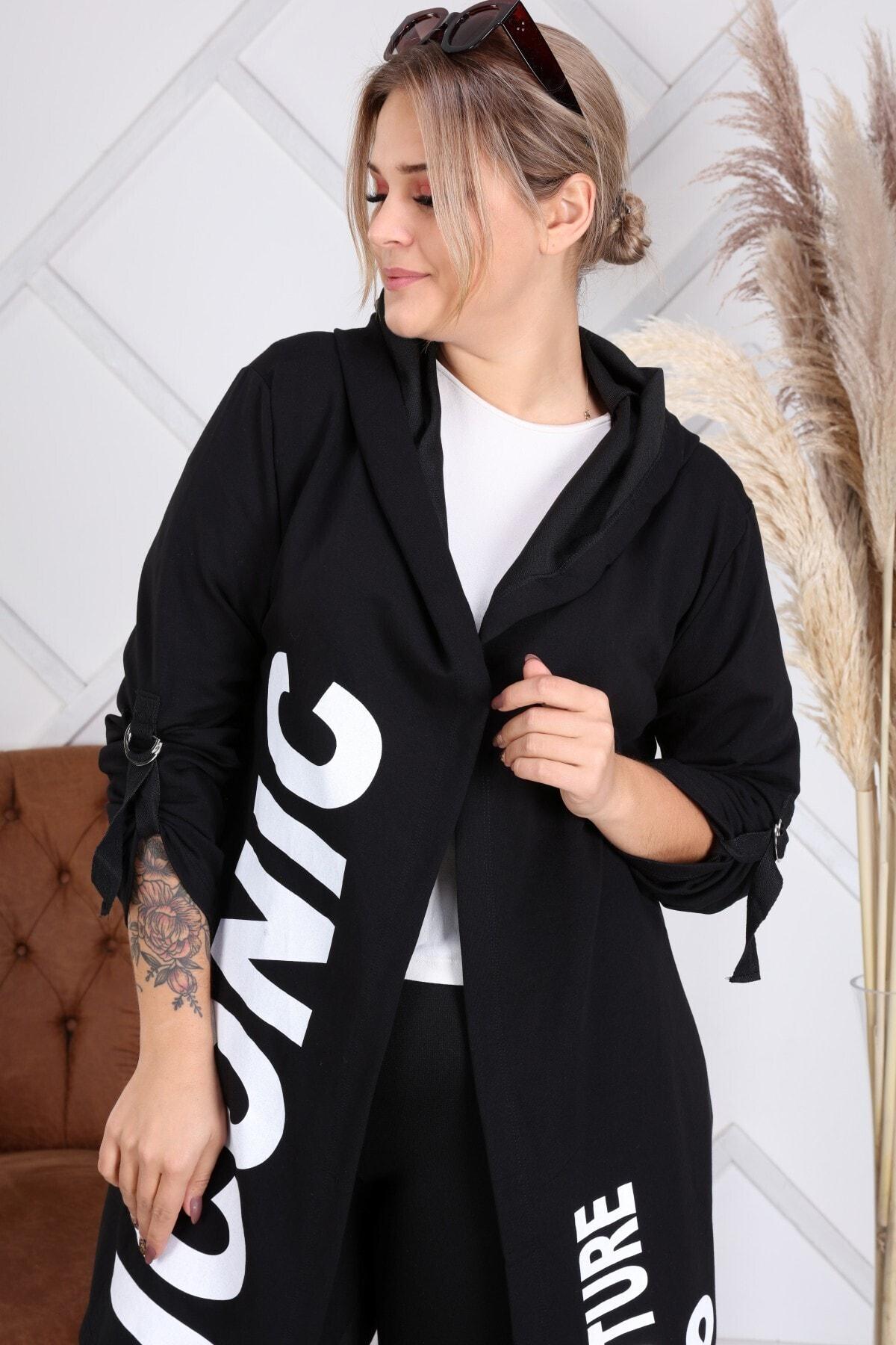 Heves Giyim Kadın Siyah Beyaz Baskılı Sweatshirt 1