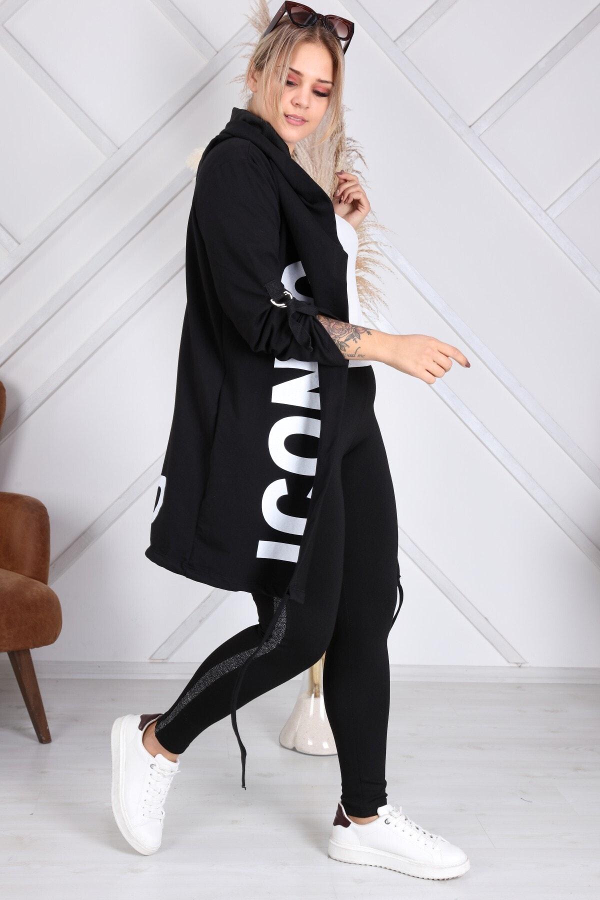 Heves Giyim Kadın Siyah Beyaz Baskılı Sweatshirt 2