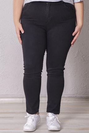Zafoni Kadın Siyah Battal Likralı Kot Pantolon