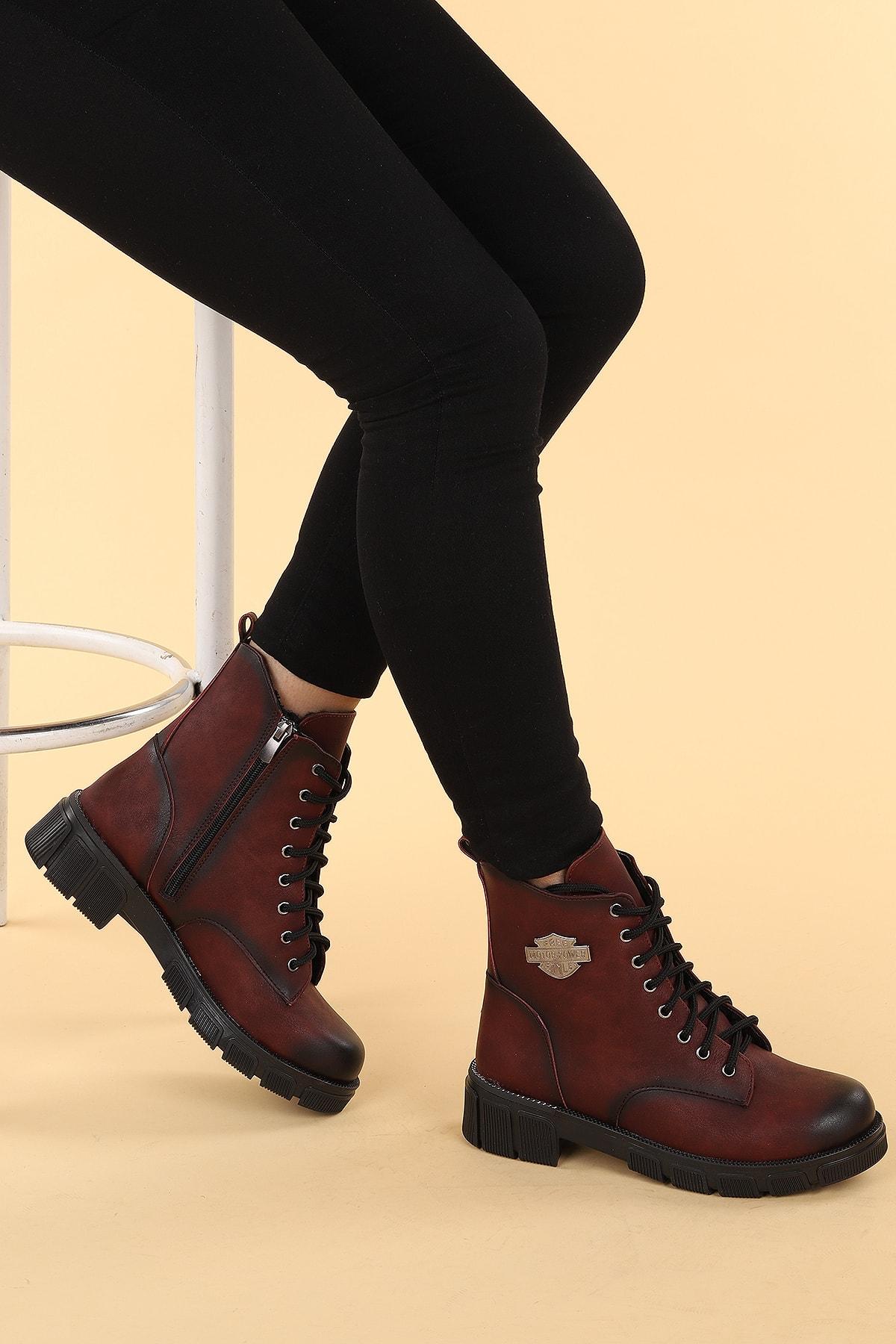 Ayakland Kadın Bordo Termo Taban Fermuarlı Bot Ayakkabı 1