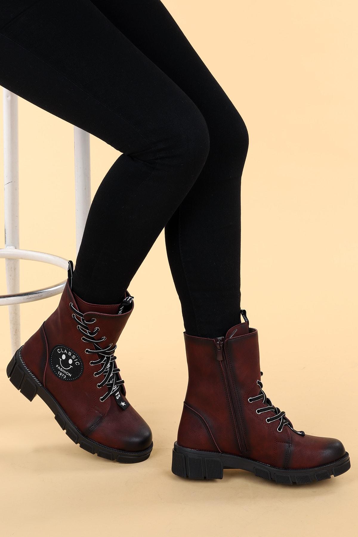 Ayakland Kadın Bordo Cilt Termo Taban Fermuarlı Bot Ayakkabı 2