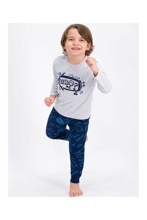 ROLY POLY Erkek Çocuk Gri Bisiklet Yaka Pijama Takımı