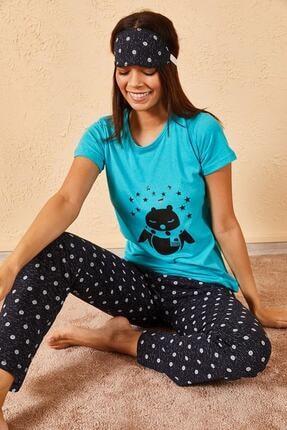 Zafoni Kadın Turkuaz Üçlü Pijama Takımı