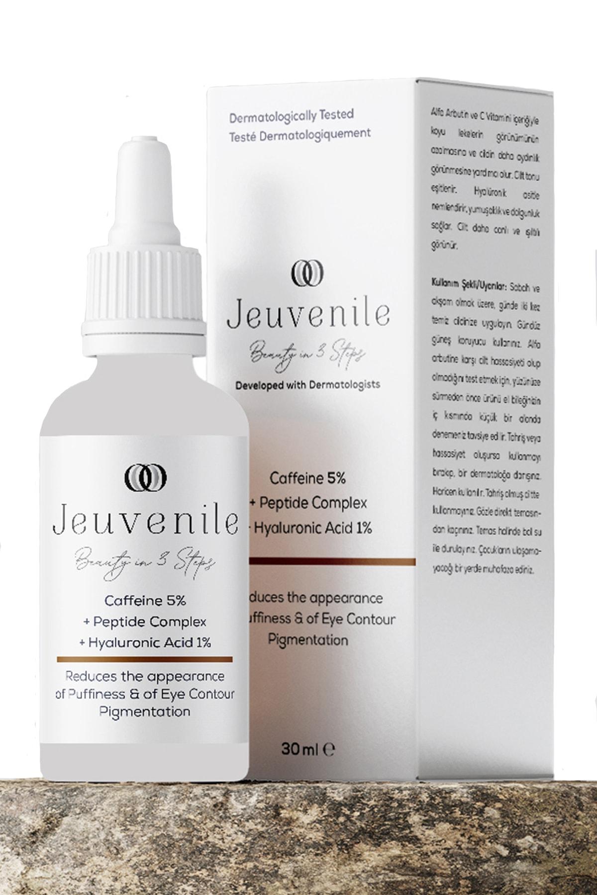 Jeuvenile Caffeine %5 + Peptide Complex + Hyaluronic Acid %1 Göz Altı Torbası Ve Morluk Serumu 30 Ml 1