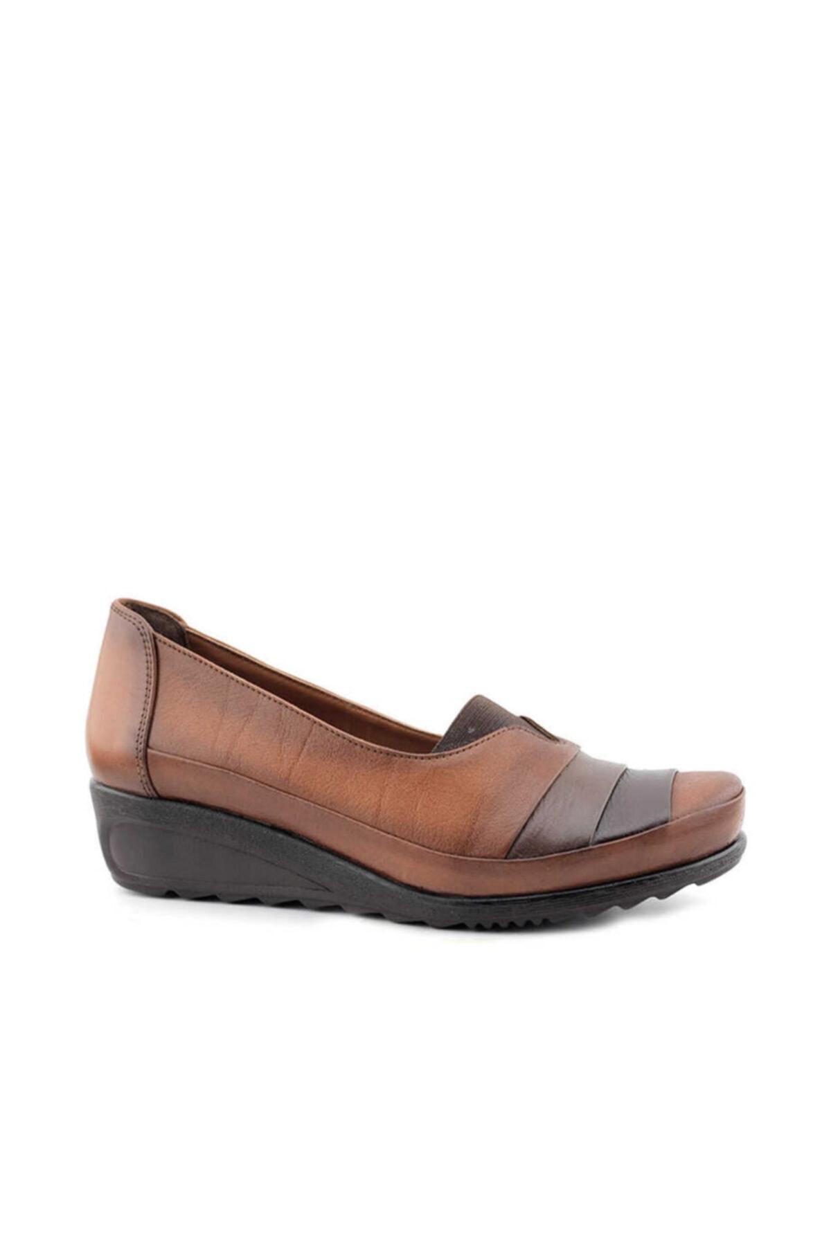 Beta Shoes Hakiki Deri Kadın Günlük Ayakkabı Taba 1