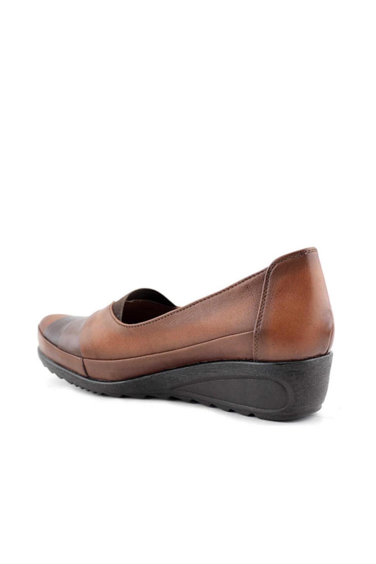 Beta Shoes Hakiki Deri Kadın Günlük Ayakkabı Taba 2