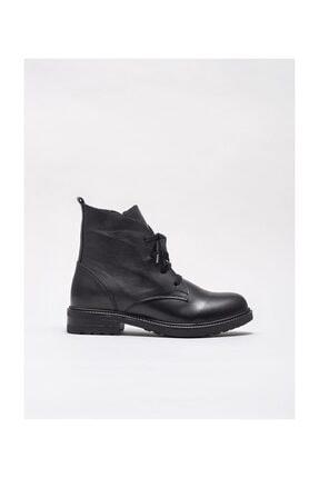 Elle Shoes Siyah Deri Kadın Düz Bot