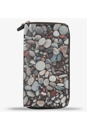 Anı Yüzük Unisex Soft Rocks Blue Velvet Baskılı Cep Telefonu Bölmeli Hakiki Deri Cüzdan