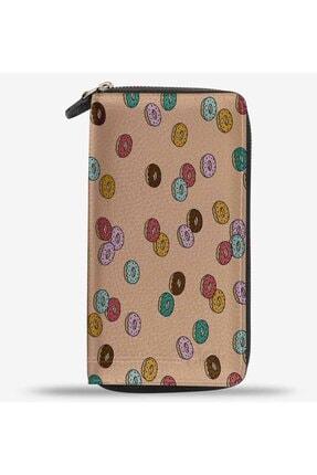 Anı Yüzük Unisex Sugar Junkie Donut Baskılı Cep Telefonu Bölmeli Hakiki Deri Cüzdan