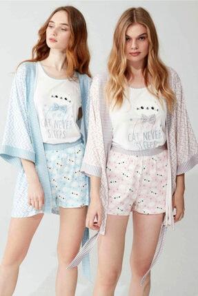 Feyza Pijama Kadın Pembe Sabahlıklı Şortlu Üçlü Takım