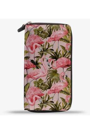 Anı Yüzük Unisex Pink Master Flamingo Baskılı Cep Telefonu Bölmeli Hakiki Deri Cüzdan