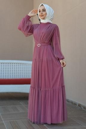 tesetturyeri Kadın Pembe Tesettür Abiye Elbise