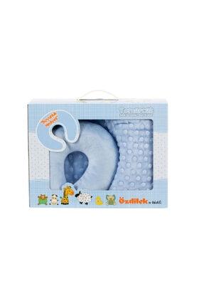 Özdilek Tomurcuk Boyun Yastıklı Bebek Battaniyesi Mavi 90x110