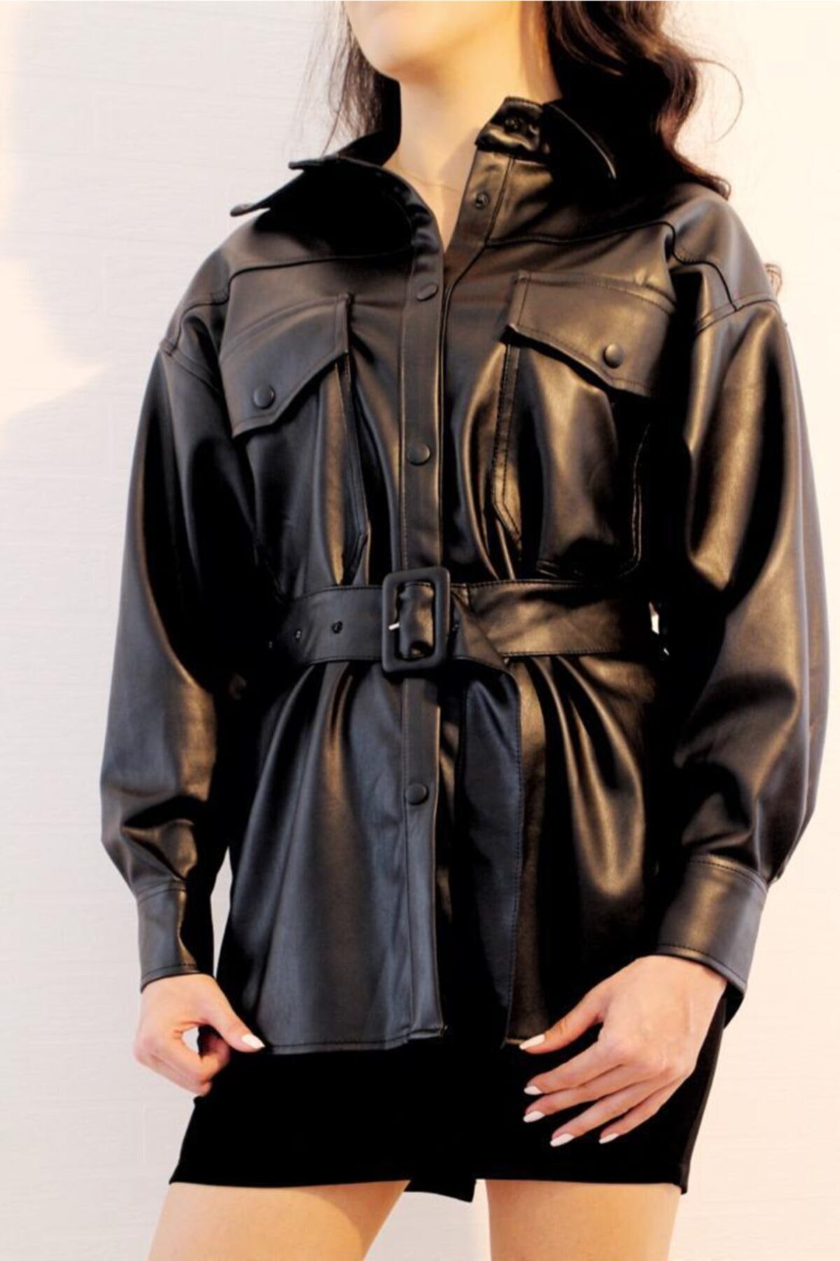 ElModa Boutique Kadın Siyah Kemerli Deri Gömlek-qz 1