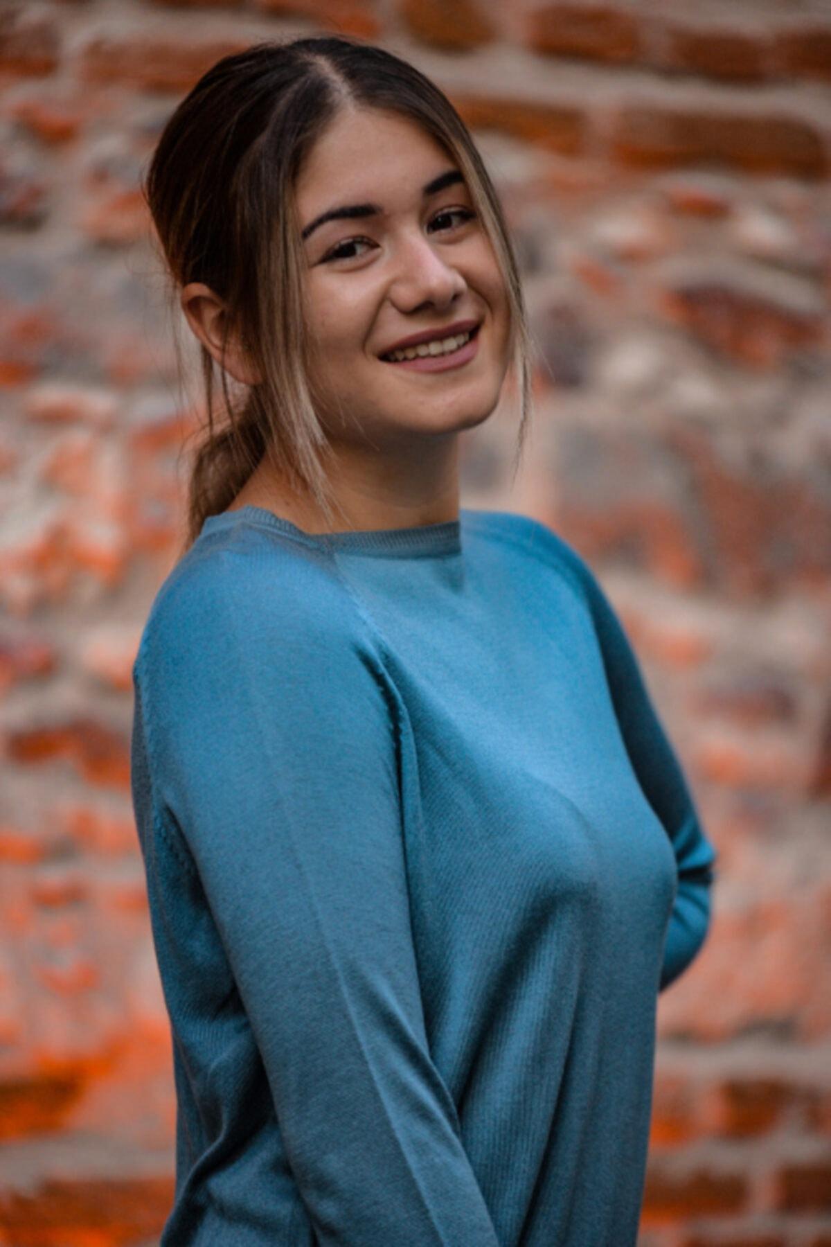 LAVİNİA Kadın Mavi İnce Kazak 1