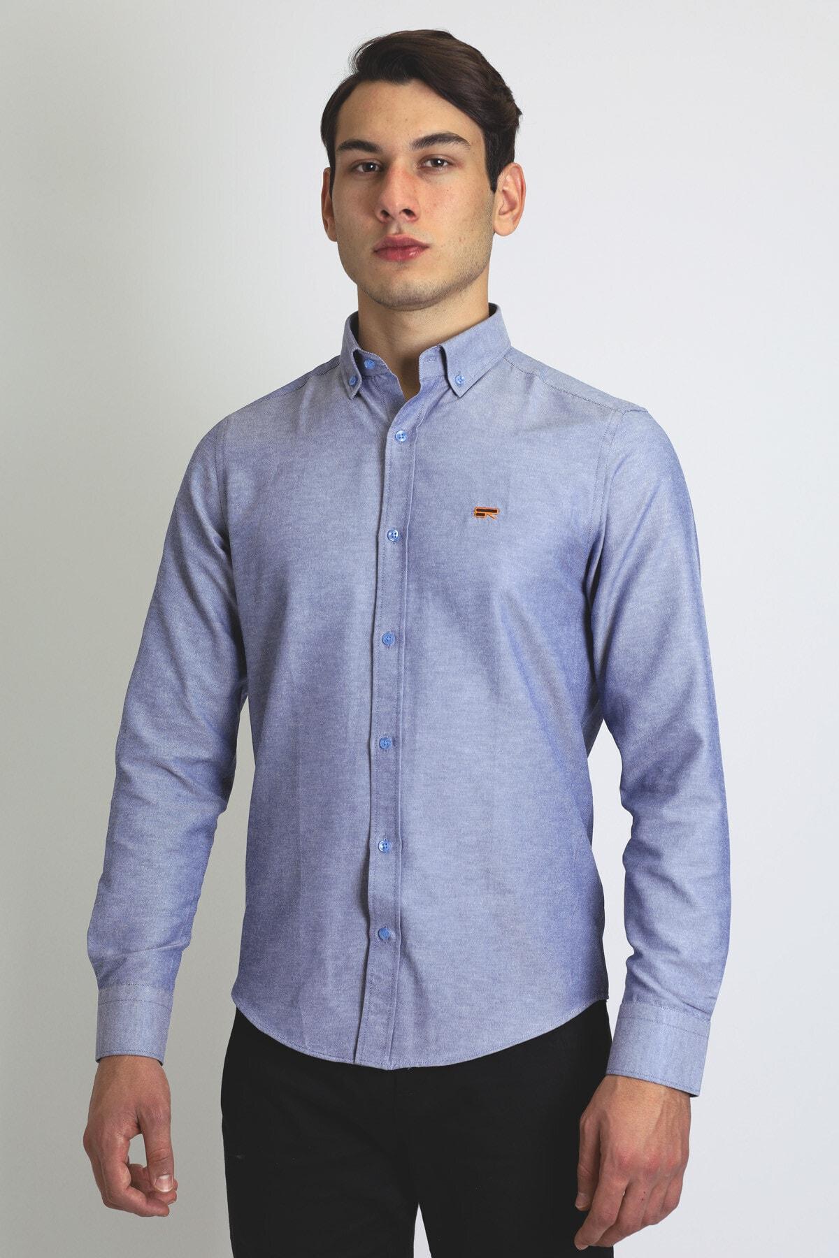 BEARRAYBON Erkek Mavi Pamuk Gömlek 1