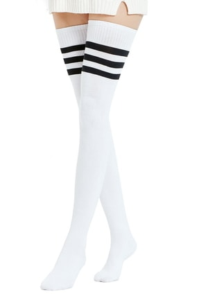 Hane14 Club Siyah Çizgili Pamuklu Diz Üstü Çorap Beyaz