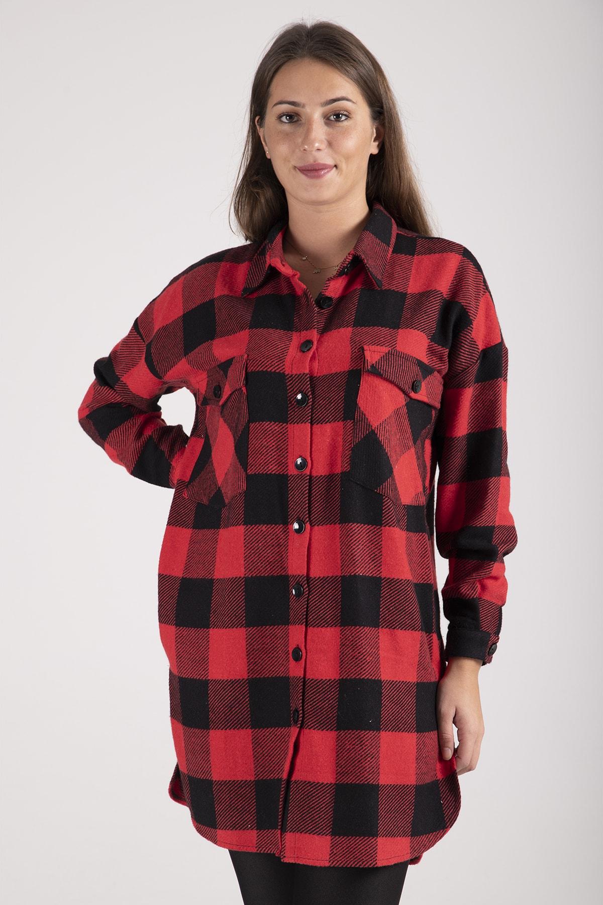 Ardanewline Kadın Kırmızı Oduncu Gömleği 1