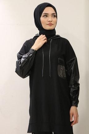 Loreen Kadın Siyah  Kolları Ve Kapüşonu Paraşüt Kumaş Sweatshirt