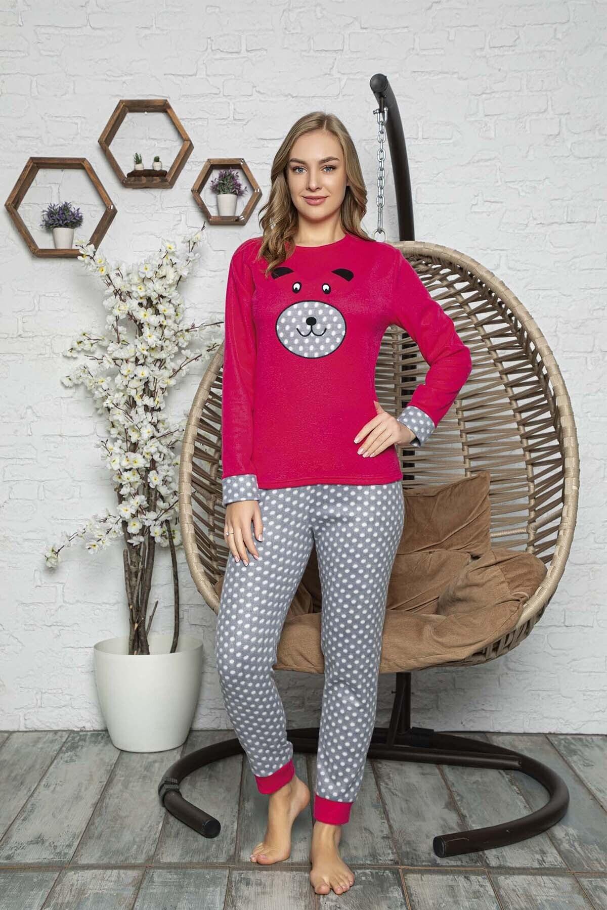 Kompedan Kadın Pembe Desenli Polar Pijama Takımı Rnd 5807 1
