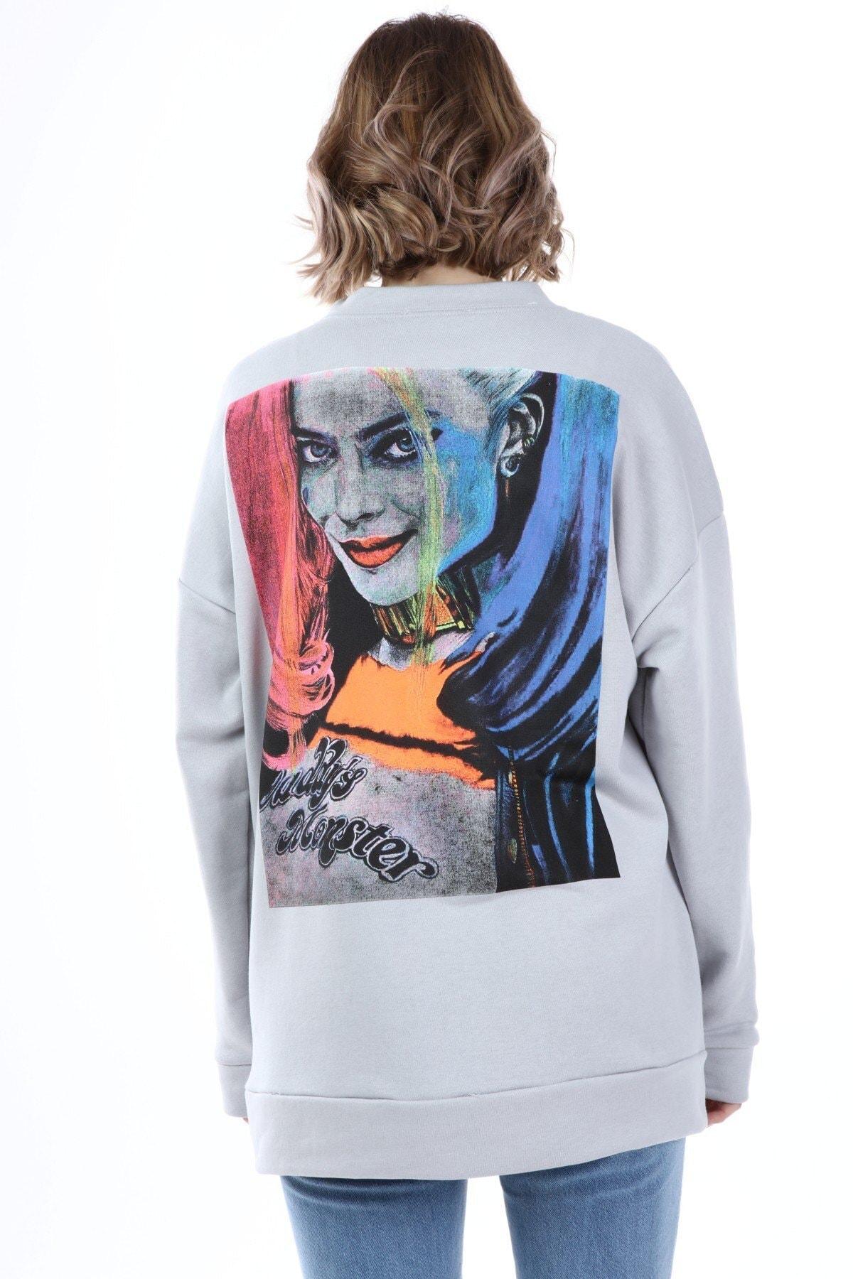 Millionaire Kadın Gri Harley Quinn Baskılı Oversize Sweatshirt 1