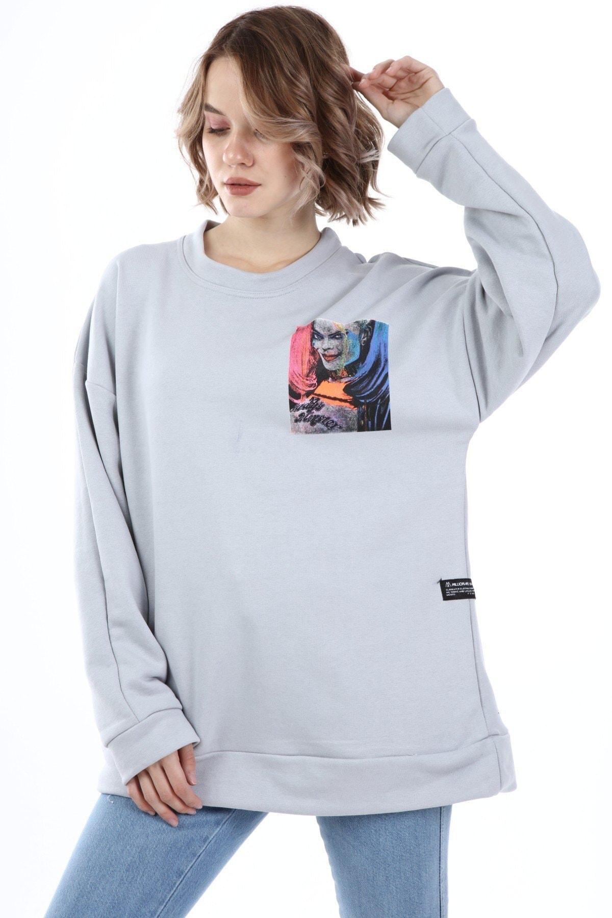 Millionaire Kadın Gri Harley Quinn Baskılı Oversize Sweatshirt 2