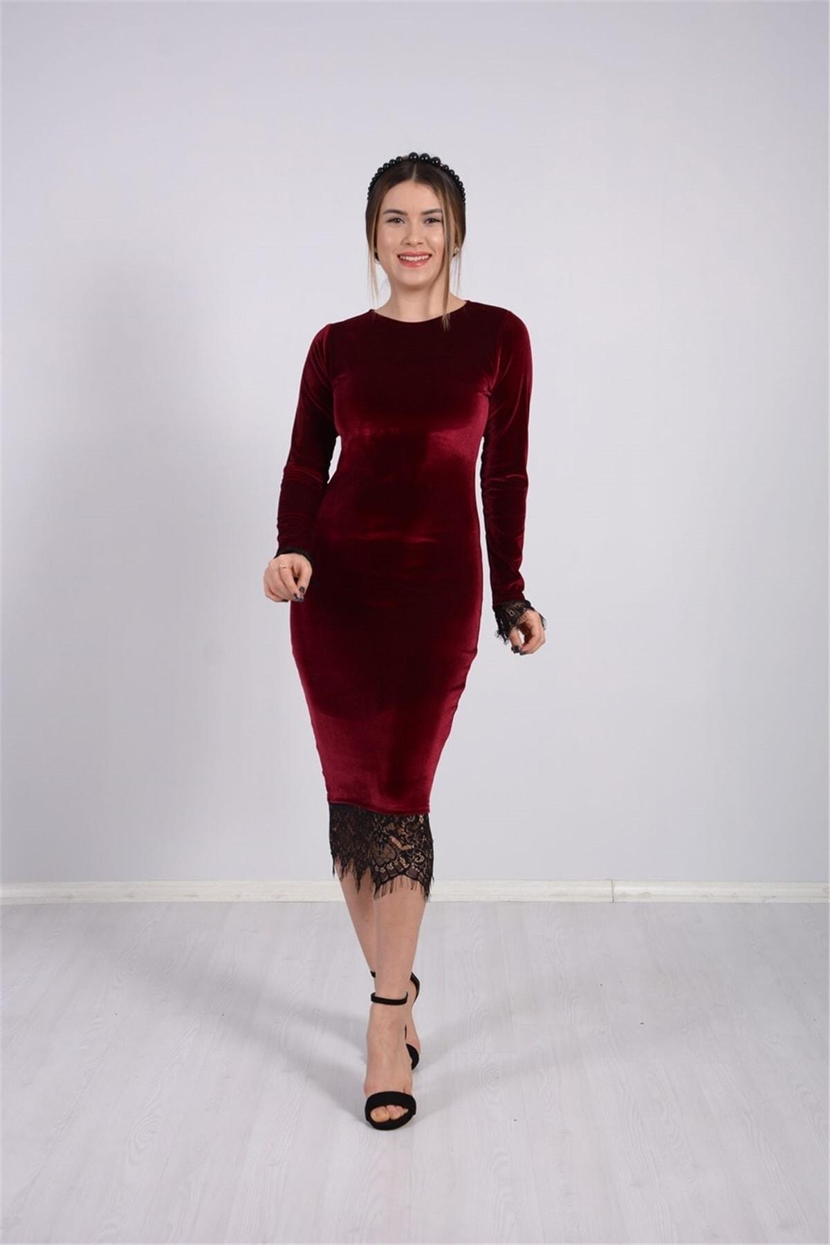 giyimmasalı Kadın Bordo Kadife Kumaş Dantel Elbise 1