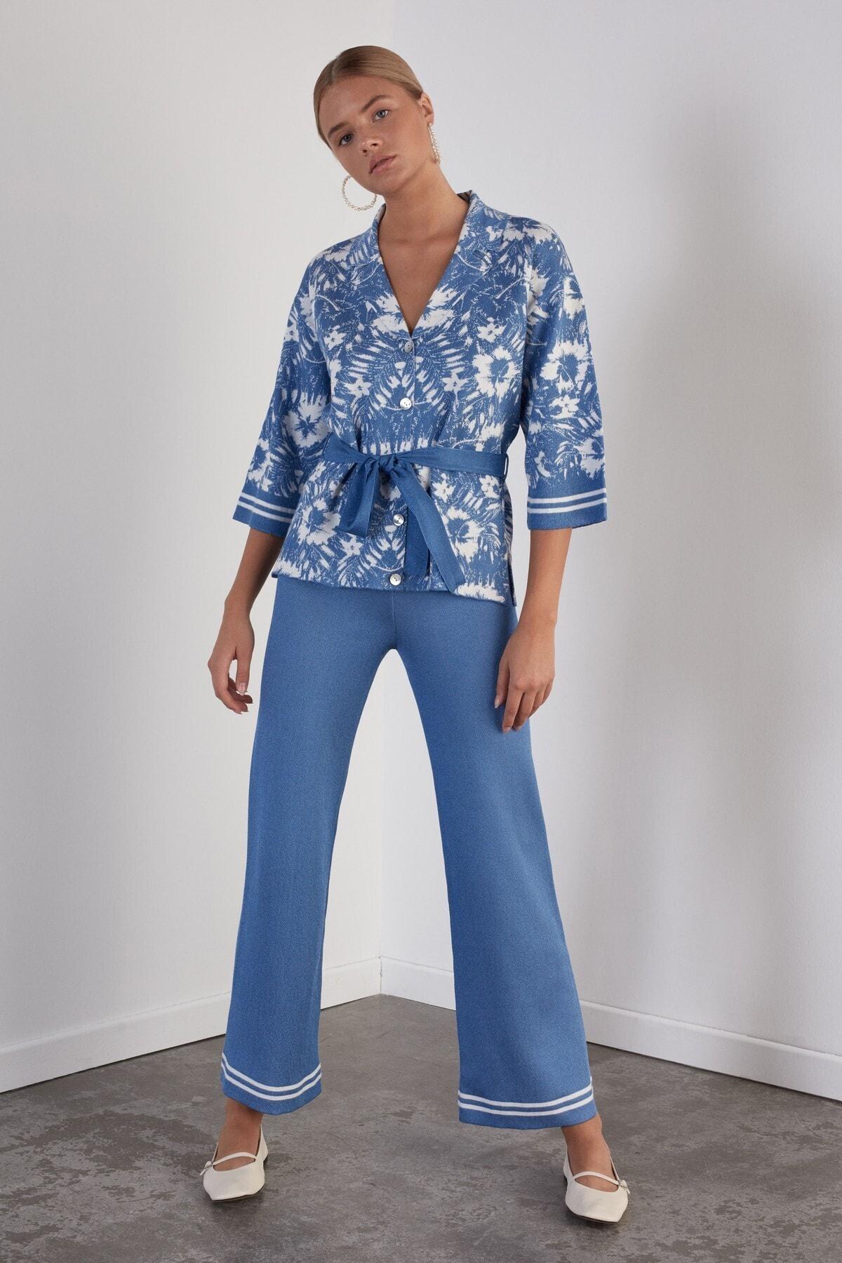 JOIN US Kadın Mavi Beli Lastikli Triko Pantolon 1