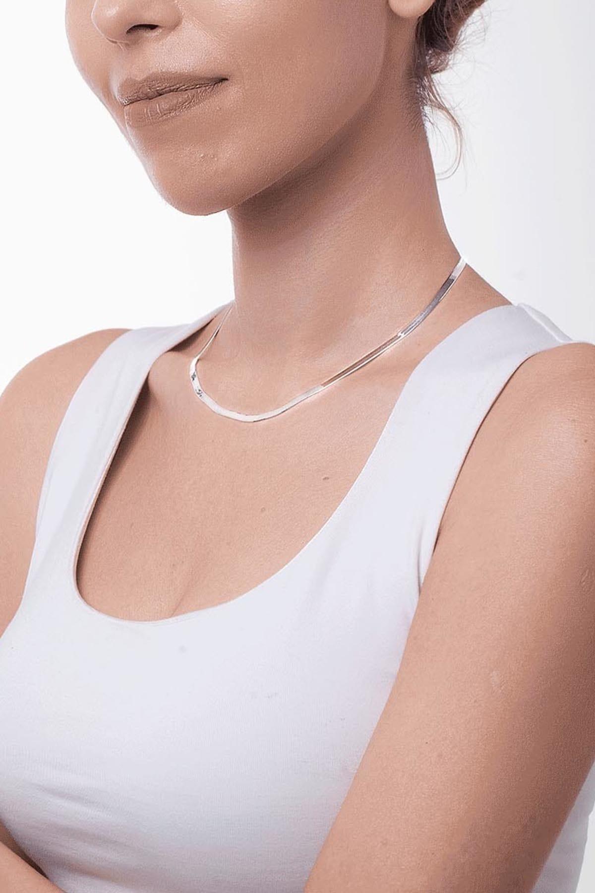 Ninova Silver Yassı Model Gümüş İtalyan Zincir