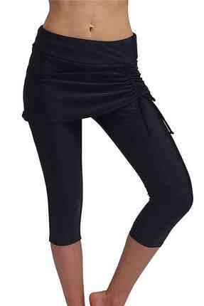 Derbars Kadın Siyah Etekli Uzun Deniz Şortu Tayt