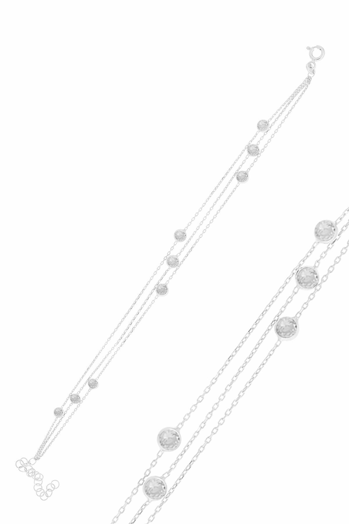 Söğütlü Silver Gümüş Rodyumlu Zirkon Sıra Taşlı Bileklik