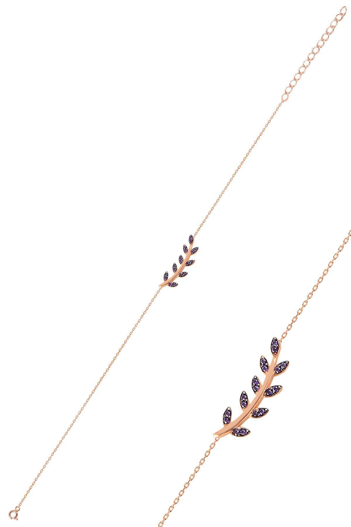 Söğütlü Silver Gümüş Rose Mor Taşlı Yaprak Bileklik