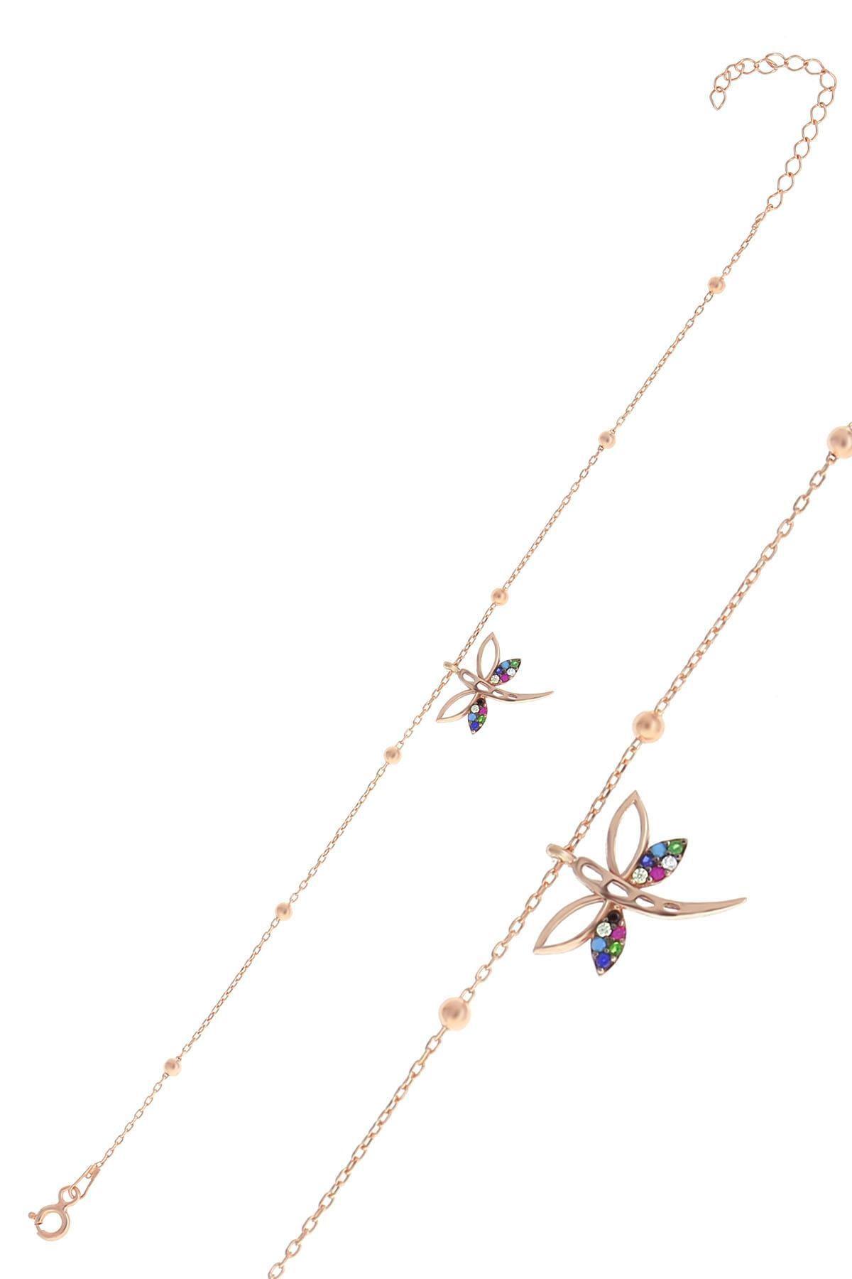 Söğütlü Silver Gümüş Rose Top Top Zincirli Yusufçuk Bileklik
