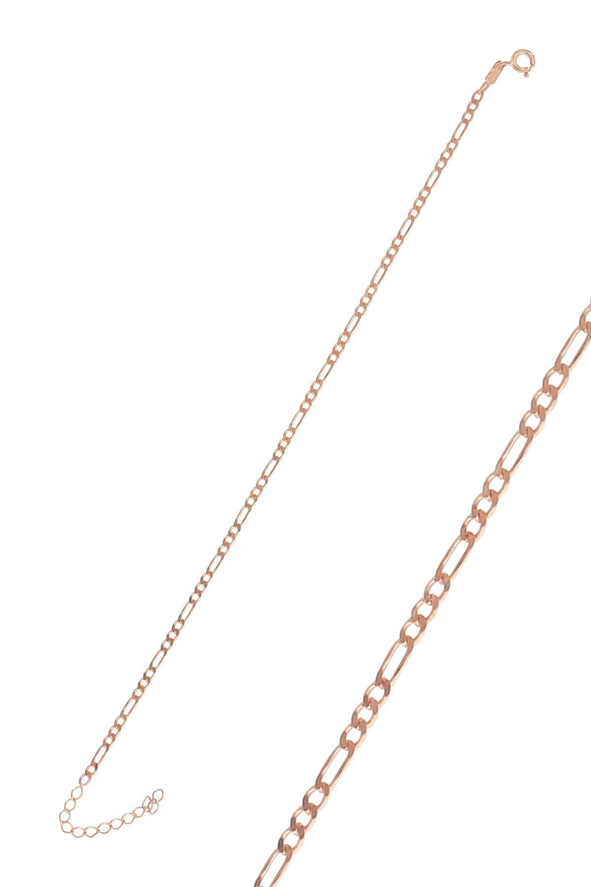 Söğütlü Silver Gümüş Rose Figaro Zincir Bileklik