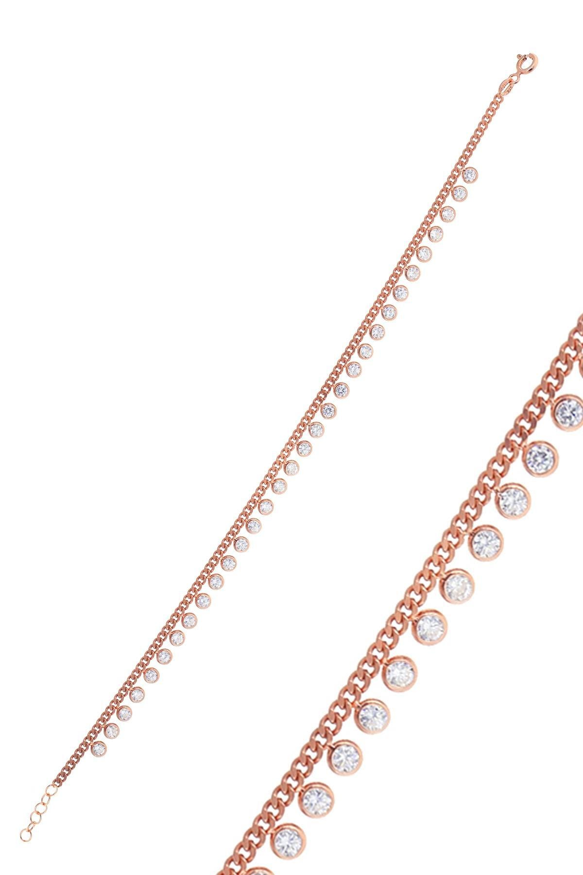 Söğütlü Silver Gümüş Rose Zirkon  Taşlı  Gurmet Zincirli Halhal