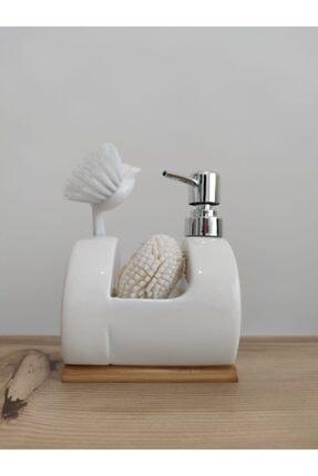 Arox Bambulu Mutfak-banyo Sıvı Sabunluk Fırça Ve Sünger Takımı