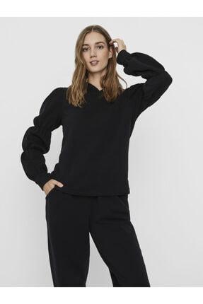 Vero Moda Kadın Siyah Kolları Büzgü Detaylı Sweatshirt 10242856 VMKOKO