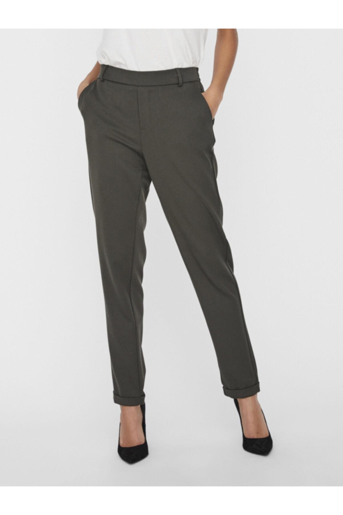 Vero Moda Kadın Haki Düz Kesim Paçaları Katlamalı Kumaş Pantolon 10225280 VMMAYA 2