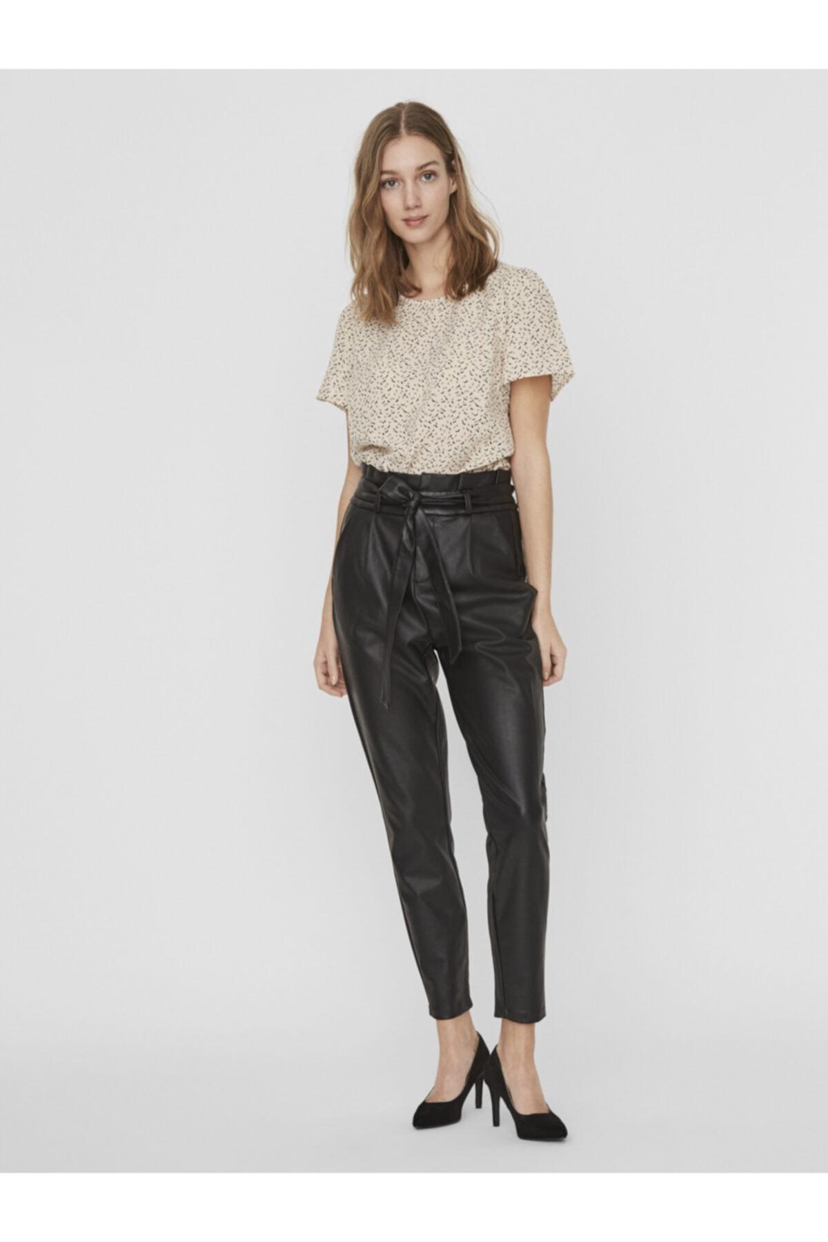 Vero Moda Kadın Siyah Paperbag Kaplama Pantolon 10232661 VMEVA 1