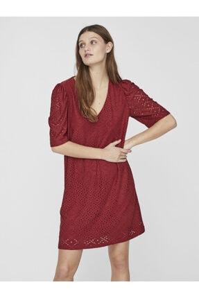 Vero Moda Kadın Kırmızı V Yaka Kısa Kollu Örme Elbise 10237864 VMESSENCE